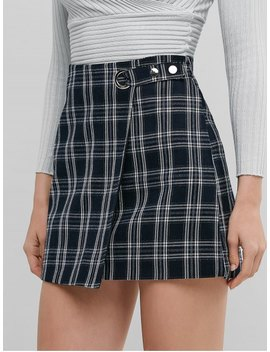 Plaid Zip Fly Snap Button A Line Skirt   Multi A M by Zaful