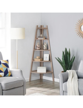 Danya B. Free Standing 5 Tier Pyramid Corner Ladder Display Shelves   Weathered Oak by Generic