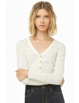 Multistriped Button Front Top by Forever 21