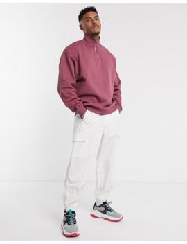 Asos Design Oversized Sweatshirt In Berry With Half Zip by Asos Design