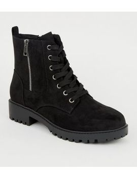 Wide Fit Black Teddy Lined Chunky Lace Up Boots by New Look
