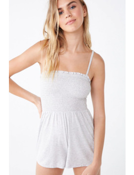 Heathered Smocked Lounge Romper by Forever 21