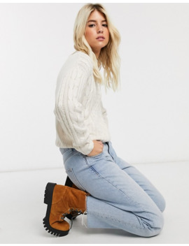 Pull&Bear Cable Knitted Jumper In Ecru by Pull&Bear