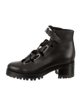 Leather Lace Up Ankle Boots by Valentino