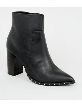 Wide Fit Black Stud Trim Pointed Boots by New Look