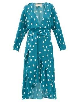 Polka Dot Print Silk Crepe Midi Dress by Adriana Degreas
