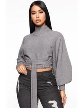 Lost In Your Eyes Sweater   Heather Grey by Fashion Nova