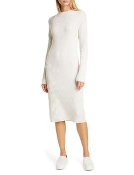 Ribbed Wool & Cashmere Long Sleeve Sweater Dress by Vince