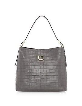 Medium Belvedere Crocodile Embossed Leather Hobo Bag by Furla