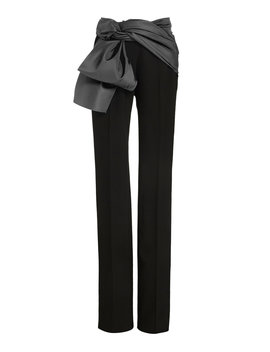 Satin Trimmed Crepe Straight Leg Pants by Carolina Herrera
