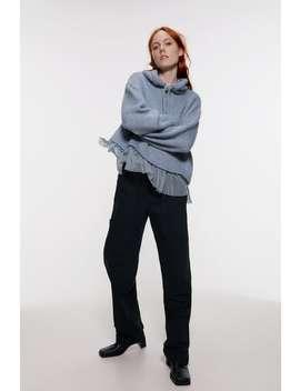 Knit Hoodie With Contrast Trim by Zara