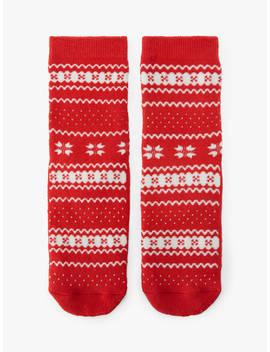 John Lewis & Partners Girls' Christmas Fair Isle Slipper Socks, Red by John Lewis & Partners