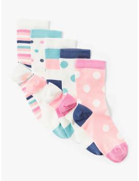 John Lewis & Partners Girls' Spot Print Socks, Pack Of 5, Pink/Multi by John Lewis & Partners