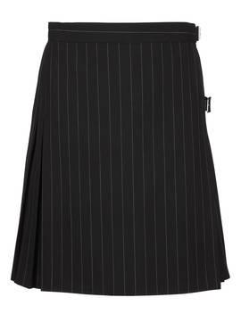 Girls' Pinstripe School Kilt, Black by Unbranded