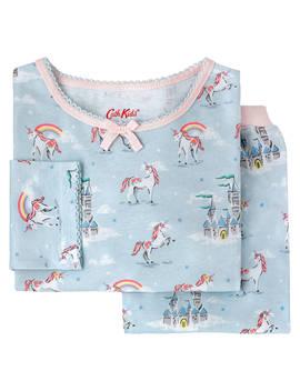 Cath Kids Girls' Unicorns And Rainbows Print Pyjamas, Blue by Cath Kidston