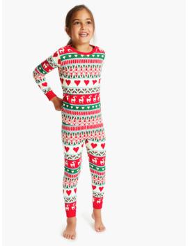 Hatley Girls' Deer Fair Isle Print Pyjamas, Red by Hatley