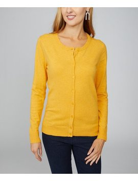 Gold Button Front Cardigan   Women by Arpeggio Knitwear