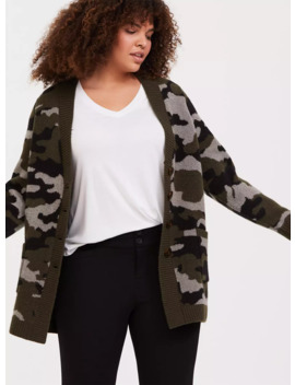 Camo Button Front Cardigan by Torrid