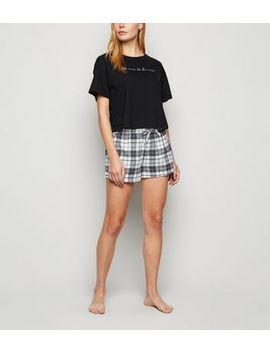 Black Be Nice Check Slogan Pyjama Set by New Look