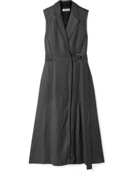 Belted Pinstriped Twill Dress by Jason Wu