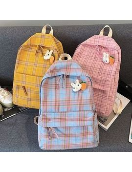 Oucha   Plaid Canvas Backpack by Oucha