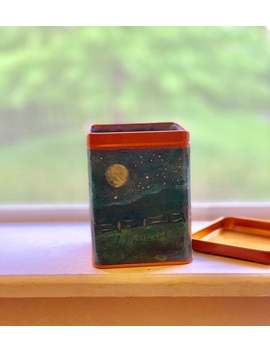 Moon Storage Tin Crystals Candles Pencils Stash Box Up Cycled Recycled Materials Cat Fence Night Sky Stars Full Moon Holder Ooak Lid by Etsy