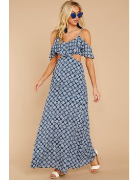Declaration Of Style Navy Blue Print Maxi Dress by Hashtag