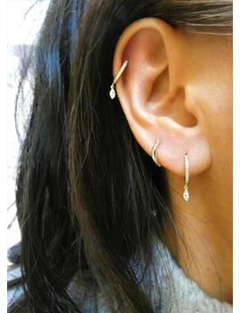 Dainty Hoops, Dainty Earrings, Marquise Charm Hoops, Dangle Hoops, Minimalist Hoops, Minimalist Earrings by Etsy