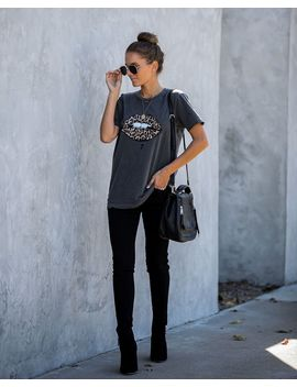 Preorder   Leopard Lips Distressed Cotton Tee by Vici
