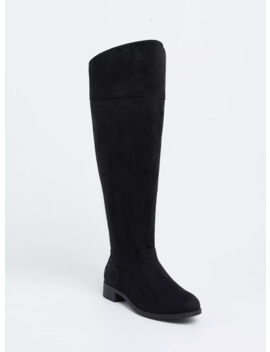 Black Faux Suede Studded Back Over The Knee Boot (Wide Width) by Torrid