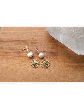 Gold & Pearl Sun / Moon Hanging Earrings by Etsy