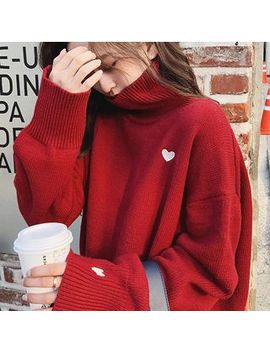 Puntino   Heart Embroidered Turtleneck Sweater by Puntino