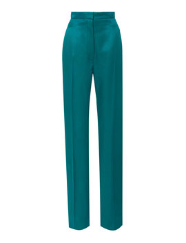 High Waisted Straight Leg Satin Suit Pants by Carolina Herrera