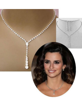 Fashion Inspired Celebrity Style Crystal Long Drop Necklace Earrings Set Silver Color Bridal Bridesmaid Wedding Jewelry Sets by Ali Express.Com