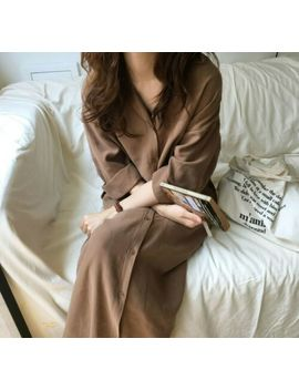 Women Long Sleeve Button Down Long Midi Loose Shirt Dress Jacket Trench Coat by Ebay Seller