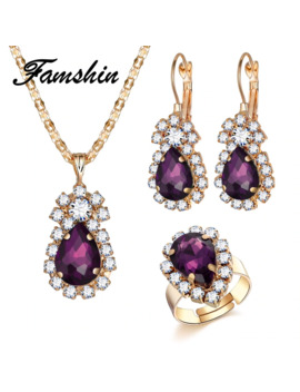 Famshin Fashion Wedding Jewelry Gold Color Water Drop Shape Crystal Earrings Necklace Adjustable Rings Set Women Jewelry Sets by Ali Express.Com
