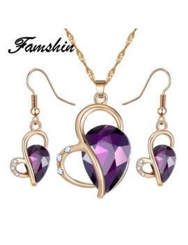 Famshin 2018 Fashion Women Jewelry Set Necklace Earrings Heart Love Crystal Rhinestone 3 Color Gem Party Jewelry Sets For Women by Ali Express.Com