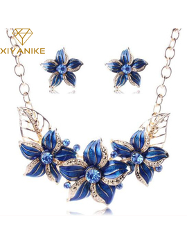 Austrian Crystal Enamel Flower Jewelry Sets Women African Costume Jewelry Maxi Necklace Earring Set Xy N404 by Ali Express.Com