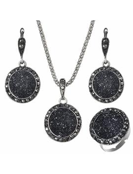 Amazing Price Vintage Gem Jewelry Set Fashion Women Jewelry Set Antique Silver Crystal Round Stone Pendant Necklace Sets 3 Pc by Ali Express.Com