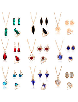 Minhin Multi Colors Crystal Stone Wedding Jewelry Sets For Women 3pcs Necklace Earring Adjustable Ring Engagement Jewelry Set by Ali Express.Com