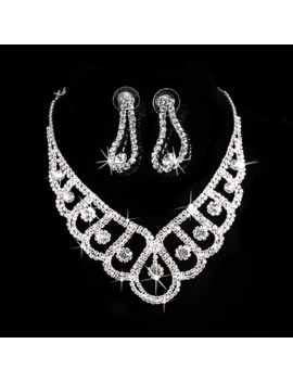 New Fashion Silver Crystal Wedding Bridal Prom Rhinestone Necklace Earrings Jewelry Sets by Ali Express.Com