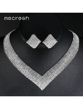 Mecresh Crystal Bridal Wedding Jewelry Sets African Beads Silver Color Rhinestone Women Necklace Sets Engagement Jewelry Mtl475 by Ali Express.Com