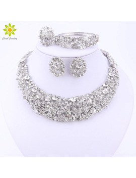 Nigerian Wedding African Beads Jewelry Sets Crystal Necklace Sets Silver Color Jewelry Set Wedding Accessories Party by Ali Express.Com