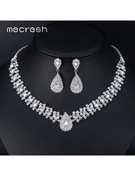 Mecresh Crystal African Wedding Jewelry Sets Pink/Silver Color Teardrop Beads Bridal Choker Necklace Earrings Sets Jewelry Tl001 by Ali Express.Com