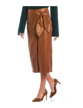 Luxury Collection Julia Bow Detail Genuine Leather Midi Skirt by Antonio Melani