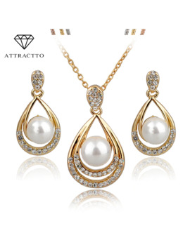 Attractto Simulated Pearl Jewelry Sets For Women Crystal Bridal Jewellery Set Wedding Bijoux Fashion Jewelry 2018 Set140029 by Ali Express.Com