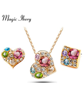 Magic Ikery Rose Gold Color Crystal Wedding Bridal Heart Color Jewelry Sets Wholesales Fashion Jewelry For Women Mkl1353 by Ali Express.Com
