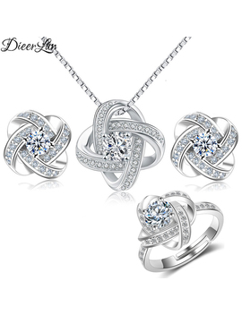 Dieerlan 2019 Bridal Jewelry Sets 925 Sterling Silver Crystal Cross Clover Flower Necklaces For Women Wedding Jewelry Bijoux by Ali Express.Com