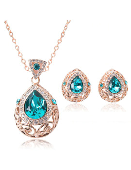 New Arrival Cz Stone Jewelry Set Women Gold Color Crystal Charm Pendants Necklaces Stud Earrings Fashion Anniversary Gift by Ali Express.Com
