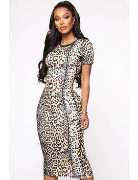 Extra Extra T Shirt Midi Dress   Leopard by Fashion Nova